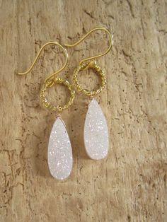 White AB Druzy Earrings Drusy Quartz Drops Gold by julianneblumlo, $108.00