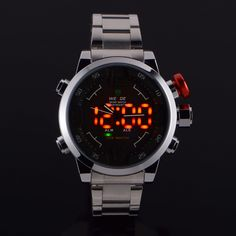 Mens LED Stainless Steel Quartz Analog Diving Sport Wrist Watch