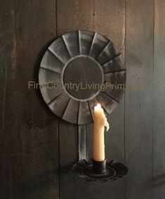 Primitive Colonial Farmhouse Country Tin Candle Reflector Sconce #NaivePrimitive #colonial