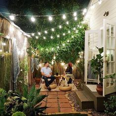 Romantic backyard set up with lights