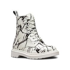 Dr. Martens Pascal Marble 8 Boots ($125) ❤ liked on Polyvore featuring shoes, boots, ankle booties, men, white patent marble, leather bootie, dr. martens, leather booties, ankle boots and ankle bootie boots