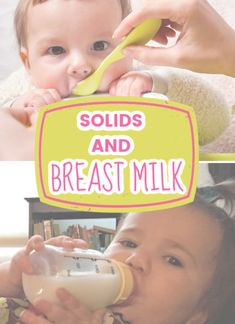 Solids and breast milk! Are you wondering how to incorporate solids with breastfeeding? Should your pumping schedule change? Tips and tricks on exclusive pumping and solids! #baby #feeding #breastfeeding #breastmilk