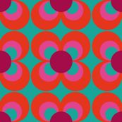 Retroflower turquoise red purple fabric by heimatkinder, click to view