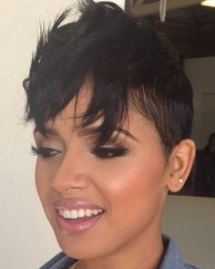 This is what my hairstyle is based off of. Short Sassy Hair, Short Hair Cuts, Short Hair Styles, Pixie Cuts, Short Pixie, Straight Hair, Black Power, Hair Colorful, Coiffure Hair
