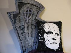 ON SALE Pinhead Hellraiser Recycled T-Shirt Pillow. $9.99, via Etsy.