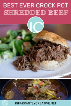 Whenever my family gets together we always do potlucks, pitch-ins, a dish to pass, covered dishes. This crockpot shredded beef recipe is a family favorite or an easy dinner recipe. Crockpot Shredded Beef, Shredded Beef Recipes, One Skillet Meals, One Pot Meals, Easy Dinners For Two, Easy Dinner Recipes, Best Crockpot Recipes, Crockpot Meals, Crock Pot Soup