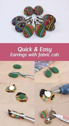 How to make earrings with fabric cabochon Making earrings f Fabric Earrings, Fabric Beads, Diy Earrings, Textile Jewelry, Fabric Jewelry, Jewellery, Diy Schmuck, Schmuck Design, Diy African Jewelry