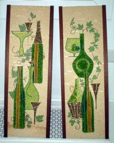 Pr-Vtg-Mod-EAMES-ERA-GRAVEL-ART-PICTURES-24-x8-Wine-Bottles-Theme-60s-Kitsch