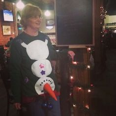 The Snow Man Upside-Down Inappropriate Ugly Christmas Sweater