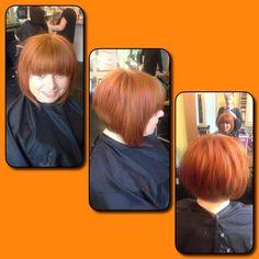 Ginger inverted choppy bob with full fringe. Hair: Hannah Potter.