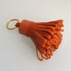 Tassel keychain / tassel keyring in orange  handmade by RinartsAtelier