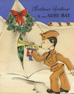 "WWII-era Christmas card for servicemen. More on Sarah Sundin's blog: ""Christmas in World War II - The Military."""