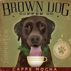Brown Dog Coffee Company Canvas Art graphic art archival giclee print. $39.00, via Etsy.
