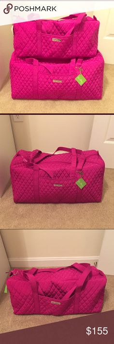 """NWT Vera Bradley Microfiber Duffel Set Brand new, with tags, limited edition set of large and small Vera Bradley duffels in magenta microfiber. Fun and flirty magenta pink color is accented with jewel-toned floral lining in both duffels. This microfiber material makes these bags more durable than the typical cotton fabric. Both bags have 1 outside pocket on the front middle. Measurements: Large duffel: 22"""" W x 11½"""" H x 11½"""" D - 15"""" strap drop Small duffel: 18½"""" W x 9½"""" H x 9½"""" D - 15"""" strap…"""
