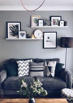 Living Room Wall Designs, Living Room Shelves, Home Living Room, Living Room Furniture, Living Room Decor, Decor Room, Ikea Wall Shelves, Apartment Living, Floating Shelves