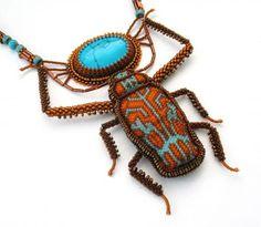 "WOW scarab beaded pendant necklace Бразильский арлекин. Победитель ""Fashion Colorworks 2011"""