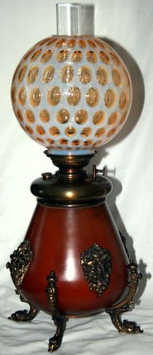 "GWTW Victorian Kerosene Lamp B H Bradley Hubbard Fenton Coin Dot 25"" T | eBay"