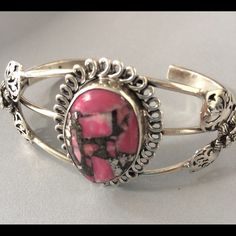 Awesome Sea Sediment Jasper Cuff Bracelet Beautiful Pink Silver Sea Sediment Jasper Sterling Silver Cuff Bracelet with leaves and flowers on sides really nice piece Jewelry Bracelets