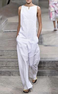 Medium kenzo white white maze poplin jacquard jumpsuit
