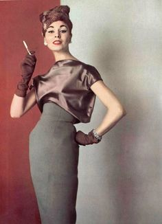 Persistance du buste court  L'Officiel #415, 1956  Photographer: Philippe Pottier  Madame Grès, Fall 1956