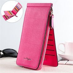 Women Men 26 Multi-slots Card Holder Ultrathin PU Leather Zipper Business Card Case 5.5'' Phone Bags