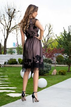 Rochie Bej Cu Tull Negru Eleganta Maneci Scurte High Low, Ballet Skirt, Skirts, Dresses, Fashion, Vestidos, Moda, Tutu, Skirt