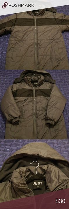 Just puffer jacket boys nwot Just puffer coat size medium 12-14 color grey and black also available in navy blue $30 each nwot cozy micro fleece lining water resistant seam sealed and breathable, adjustable zip front off hood with lower face protection two hand pocket plenty of room for all on the go essentials will definitely keep you warm through out the winter just Jackets & Coats Puffers