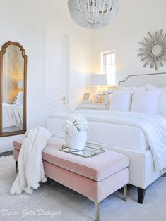 Home Interior Decoration Beautiful bedroom white bed blush bench feminine look.Home Interior Decoration Beautiful bedroom white bed blush bench feminine look Glam Bedroom, Bedroom Colors, Bedroom Sets, Home Decor Bedroom, Bedroom Furniture, Feminine Bedroom, White Bedroom Set, Off White Bedrooms, Bedding Sets