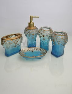 Blue 5 Piece Resin Bathroom Accessory Sets   M.milanoo.com
