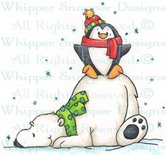 Hurly & Burly - Penguins - Animals - Rubber Stamps