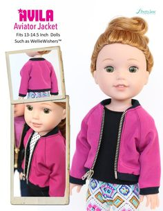 Liberty Jane Clothing Avila Aviator Jacket WellieWishers Doll Clothes Pattern | Pixie Faire