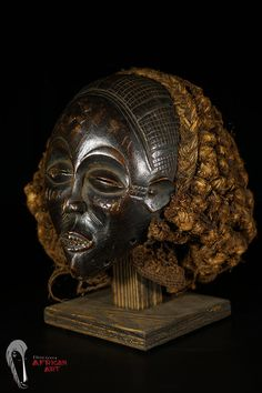 Discover African Art Chokwe Mask from DRC with Stand