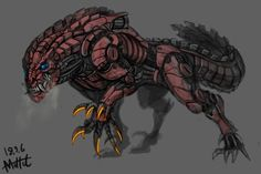 Mechanic Deviljho (mad) by MuHut on DeviantArt Monster Concept Art, Robot Concept Art, Creature Concept Art, Creature Design, Robot Monster, Monster Art, Cry Anime, Anime Art, Fantasy Creatures