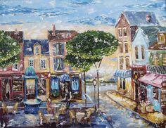 """Oil art """"O'brien art's inspiration. Evening streets"""" Картина по мотивам О'Брайена """"Вечерние улицы"""""""