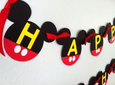 Mickey Mouse Birthday Banner Garland - DIY Garlands for 2014 Party