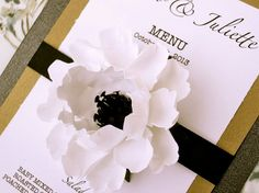 Adapt for ceremony programs? Anemone paper flower - Wedding Menu Cards - by DragonflyExpression