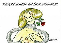 Herzlichen Glückwunsch - Dame -Loriot Humor -Postkarte