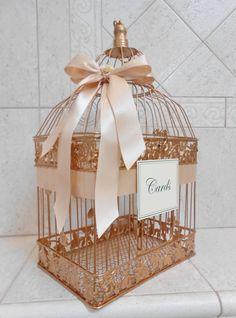 Large Rose Gold and Blush Wedding Card Box / Wedding by ThoseDays