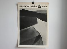 "1968 National Parks Poster featuring ""Dunes - Death Valley National Monument"" photograph by Ansel Adams"