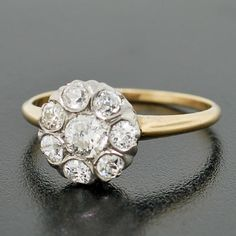 A Brandt and Son - Edwardian 14kt Gold & Diamond Cluster Flower Ring .81ct