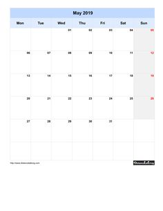 Free Monthly Printable Blank Calendar for May 2019 Monday to Sunday
