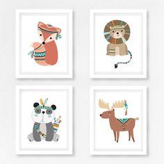 Boho Nursery Decor Tribal Nursery Art Woodland Nursery Boho Nursery, Tribal Nursery, Woodland Nursery Decor, Nursery Wall Art, Arte Tribal, Tribal Art, Tribal Animals, Woodland Animals, Artist Canvas