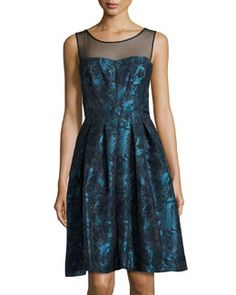 TACU9 Vera Wang Fit-and-Flare Illusion-Neck Dress, Peacock/Black