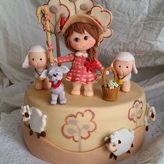 Pastorcita con perro y ovejitas