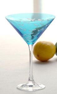 School of Fish Blue Martini Glass Set