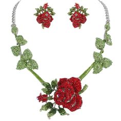 Romantic-Flower-Rose-Earrings-Necklace-Set-Red-Rhinestone-Crystals
