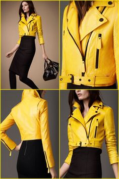 Burberry 2013 - Tourmaline Yellow, Patent Python Cropped Biker Jacket