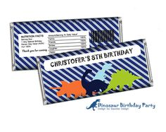Dinosaur Birthday Party Candy Bar Wrappers by SqweezDesign on Etsy, $4.99