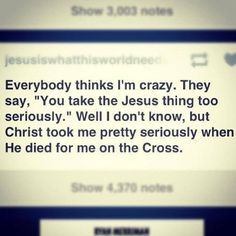 I really love this!! To non-believers, I'm a crazy person, I'm a freak! But you know what?? It's okay cuz I'm a Jesus Freak!!☝️