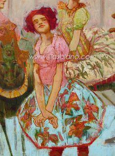 Le Printemps du Vieux Manège. Détaille. 120 x 120 cm. Huile sur toile.